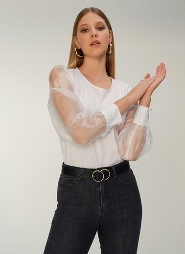 NGSTYLE Kolları Organze Detaylı Poplin Bluz Beyaz